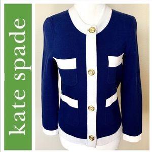 KATE SPADE Nautical White Blue Gold JACKET Blazer